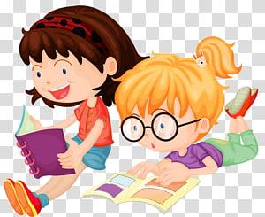 dua gadis membaca buku ilustrasi, Membaca, Anak-anak belajar png