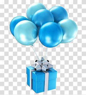 kotak hadiah biru dan abu-abu, Balon Biru Selamat Ulang Tahun untuk Hadiah Anda, balon hadiah Biru png