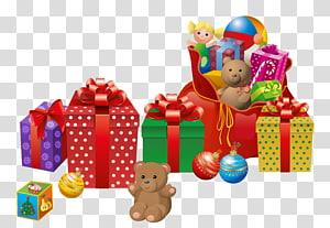 Sinterklas hadiah Natal Hadiah Natal, Hadiah Natal, mainan mewah dan ilustrasi kotak hadiah png