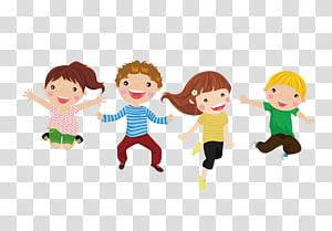 ilustrasi empat anak melompat, Ilustrasi Kartun Anak, Anak melompat png