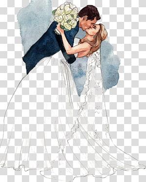 ilustrasi berciuman pengantin pria, Gambar Pernikahan Pengantin Pria Pernikahan, Pasangan berciuman PNG clipart