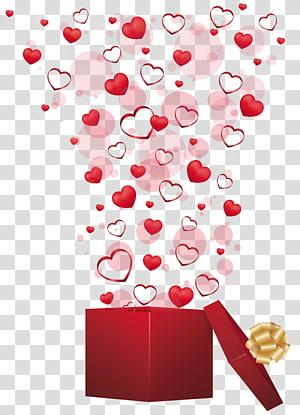 Valentine's Day Gift Heart, Red Gift with Hearts, meledak jantung pada ilustrasi kotak hadiah terbuka png