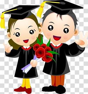 dua orang mengenakan ilustrasi akademis, upacara Wisuda Mahasiswa Gelar Sarjana Gown, Seorang mahasiswa mengenakan gaun sarjana png