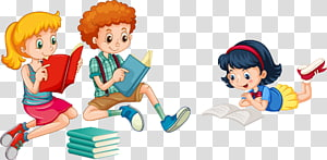 dua perempuan dan satu laki-laki membaca buku, Membaca Ilustrasi Anak, membaca tulisan tangan anak-anak png