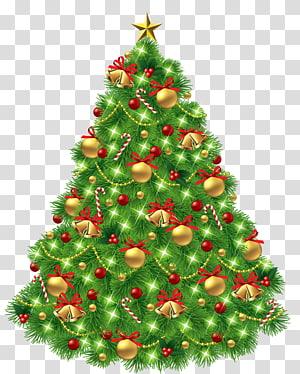 Ilustrasi pohon Natal, pohon Natal Hari Natal, Pohon Natal dengan Ornamen dan Lonceng Emas PNG clipart
