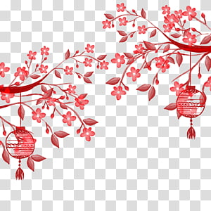 Kertas Poster, Lentera tangan Cina yang dilukis, bunga merah muda dengan ilustrasi lentera png
