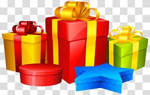 ilustrasi kotak hadiah aneka warna, bingkai kartu Natal Santa Claus, Hadiah png