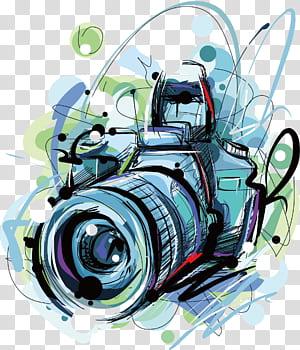 kamera, ilustrasi kamera DSLR warna-warni png