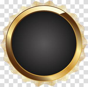 bingkai emas bulat, bingkai Teks Circle Brown, Seal Badge Black PNG clipart