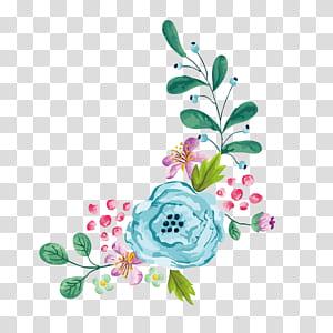 Bunga Euclidean, cat air kartun tangan dicat perbatasan bunga, lukisan bunga png