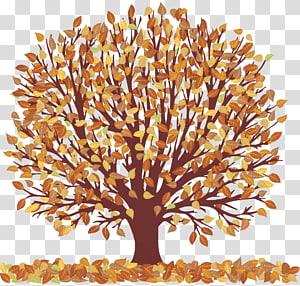 Autumn Tree, Autumn Tree dengan Falling Leaves, art pohon berdaun coklat PNG clipart