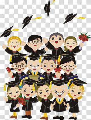 siswa mengenakan ilustrasi gaun akademik, Wisuda Anak, Wisuda png