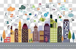 ilustrasi berbagai macam bangunan, Cityscape Building Illustration, Internet City PNG clipart