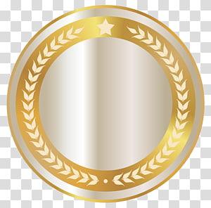 bingkai bingkai bulat emas, Lencana Emas, Lencana Segel Putih dengan Dekorasi Emas PNG clipart
