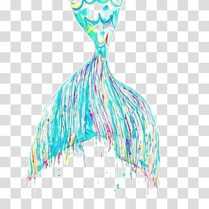 ilustrasi ekor ikan warna-warni, lukisan Cat Air Putri Duyung Karya seni, Ekor Paus png