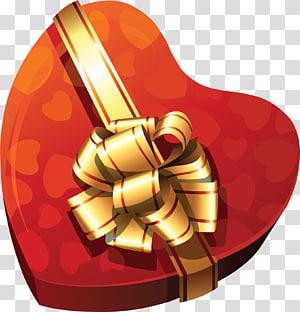 kotak hadiah merah dan coklat berbentuk hati, Chocolate Box Heart, Large Gift Heart Box png