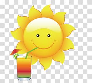 tersenyum minum minuman matahari dalam ilustrasi kaca, Cloud Cartoon, bahan desain matahari musim panas PNG clipart