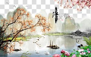 Lukisan Pemandangan Cina Lukisan minyak, Angin China latar belakang kreatif pemandangan indah, ilustrasi danau dan pegunungan yang dikelilingi pohon png