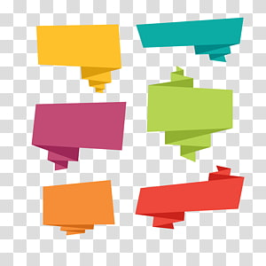 Balon ucapan Origami Microsoft PowerPoint, Spanduk origami warna, enam ilustrasi teks gelembung png