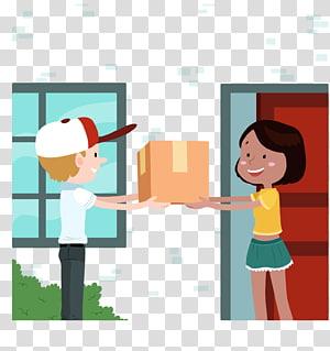 pria memberikan kotak kepada seorang wanita ilustrasi animasi, Pengiriman Kurir Logistik Bisnis Angkutan angkutan, pengiriman dengan tangan png