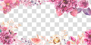 Bunga, Border bunga ungu bahan berlapis, bunga merah muda dan putih swag ilustrasi png