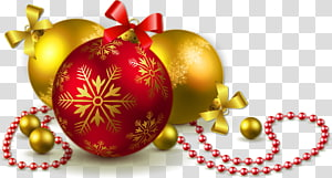 Ornamen Natal Pohon Natal, Bola Natal Emas dan Merah, ilustrasi Natal pernak-pernik png