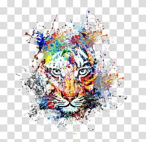 Lukisan seni lukis abstrak, kreatif warna tinta percikan harimau avatar, seni abstrak harimau png