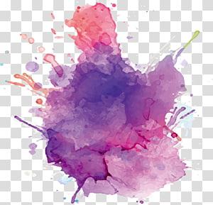 Paper Watercolor painting Ink, Cat air tinta ungu, percikan ungu dan merah muda PNG clipart