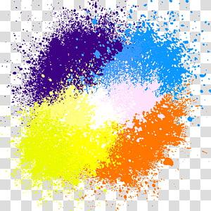 Lukisan cat air tinta, cat percikan, ilustrasi cat lima warna png