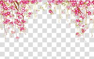 Bunga Euclidean, Perbatasan Bunga, ilustrasi bunga petaled merah muda png