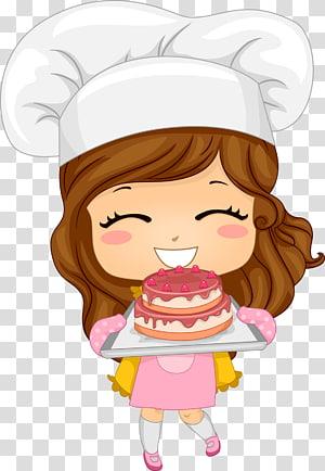 seorang wanita memegang nampan dengan ilustrasi kue, Baker Cartoon Chef, bagel PNG clipart