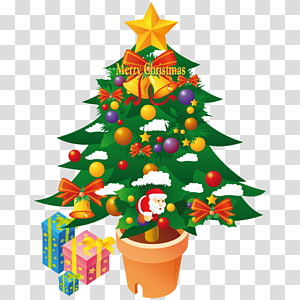 cemara cemara dekorasi natal pinus keluarga pot bunga, pohon Natal, ilustrasi pohon Natal hijau png