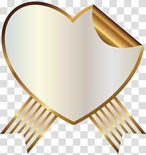 hati berwarna emas, Earless seal Ribbon Sealing wax, White and Gold Heart Seal with Ribbon PNG clipart