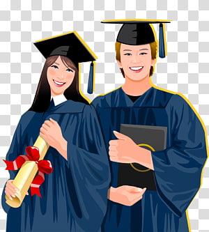 wisuda, upacara Wisuda Mahasiswa Ilustrasi gaun akademik, wisuda yang ditarik tangan mengenakan pakaian mahasiswa bujangan png