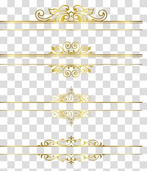 Emas, bingkai Emas, empat garis hiasan cokelat png