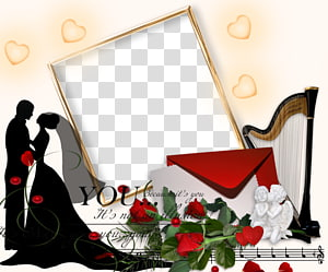 bingkai berwarna emas, bingkai pernikahan romantis, album pernikahan pasangan romantis PNG clipart