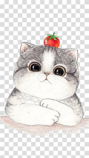Ilustrasi Gambar Kartun Kucing, Ilustrasi wajah kucing besar, ilustrasi kucing putih png