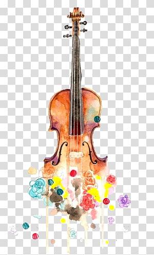 Biola Menggambar Lukisan Cat Air Musik Cello, gitar Kreatif png
