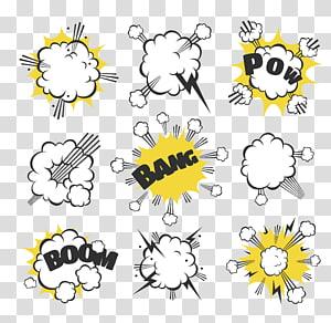 ilustrasi bang and pow, Ilustrasi Kartun Komik, ledakan komik awan png