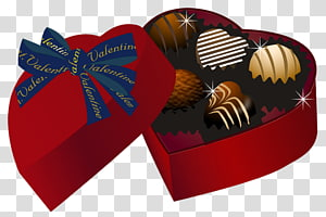 kotak cokelat, truffle Cokelat Chocolate Valentine truffle, Valentine Red Heart Chocolate Box png