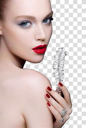 wanita memegang daun, Riasan Wajah Close-up Bibir, Riasan Wajah Rias Wajah wanita PNG clipart