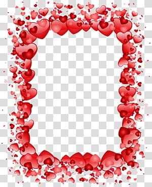 Valentine's Day Heart, Valentine's Day Hearts Border, bingkai hati merah png