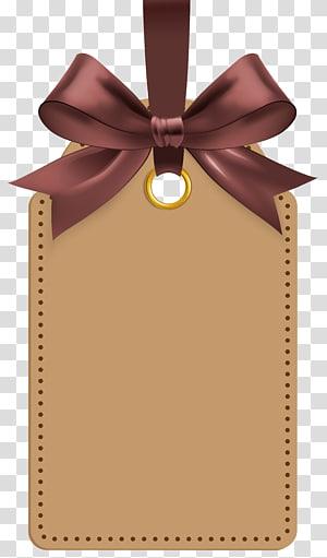Label, Label dengan Brown Bow Template, ilustrasi label cokelat PNG clipart