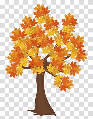 ilustrasi pohon maple oranye dan kuning, file Komputer Pohon Musim Gugur, Pohon Gugur PNG clipart