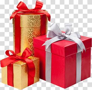 tiga kotak hadiah berbagai macam, kotak hadiah Natal Dekorasi, ditutupi dengan hadiah natal png