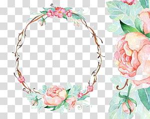 Undangan pernikahan Bingkai Kertas Cat Air Bunga, Batas lingkaran, mahkota bunga berwarna merah muda dan hijau png