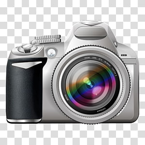 kamera SLR abu-abu dan hitam, kamera refleks lensa-tunggal Digital SLR, Kamera Digital png