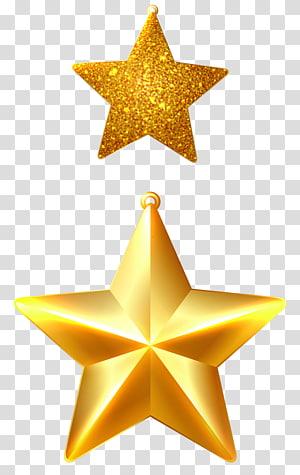dua bintang emas berujung 5, ornamen Natal, hiasan Natal Star of Bethlehem, Christmas Stars Ornaments png