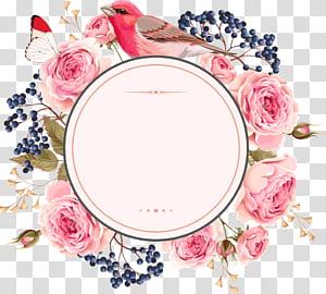Undangan pernikahan Bunga Euclidean, bunga dan garis batas, burung yang dikelilingi ilustrasi bunga mawar merah muda png