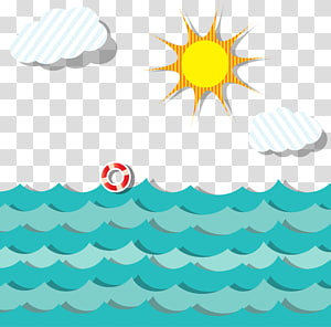 pelampung kehidupan merah di badan air, adegan kartun Ocean png